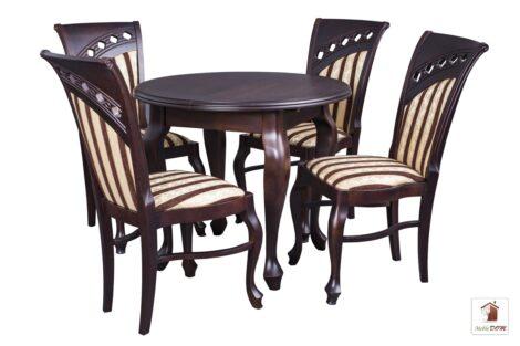 Okrągły stół rozkładany Chippendale z krzesłami Bora