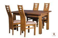 Prostokątny stół rozkładany do salonu i jadalni Natur z krzesłami Design1 II