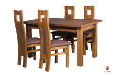 Prostokątny stół rozkładany do salonu i jadalni Natur z krzesłami Open1 II
