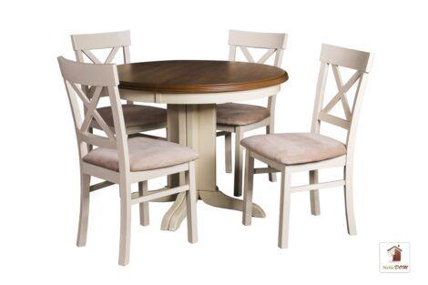 Okrągły stół rozkładany do salonu i jadalni Rockabilly z krzesłami Nord One