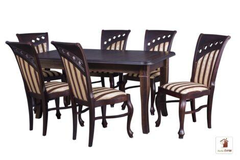Prostokątny stół rozkładany do salonu i jadalni Diament z krzesłami Bora