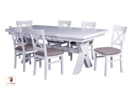 Prostokątny stół rozkładany w stylu skandynawskim Malmo z krzesłami Nord One.