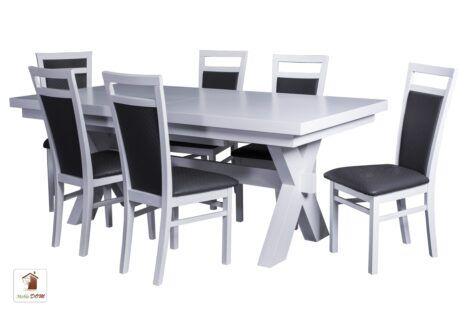 Prostokątny stół rozkładany w stylu skandynawskim Malmo z krzesłami Paloma