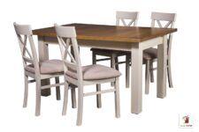 Prostokątny stół rozkładany do salonu i jadalni Natur z krzesłami Nord One