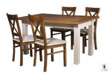 Prostokątny stół rozkładany do salonu i jadalni Natur z krzesłami Nord