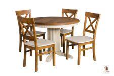 Okrągły stół rozkładany do salonu i jadalni Rockabilly z krzesłami Nord