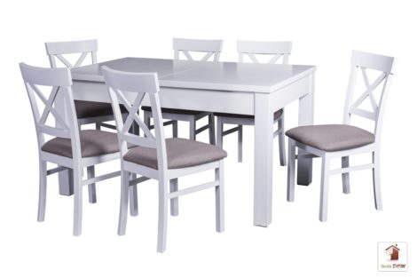 Prostokątny stół rozkładany w stylu skandynawskim Strong z krzesłami Nord One