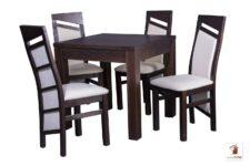 Kwadratowy stół rozkładany do salonu i jadalni Strong Square z krzesłami Edward