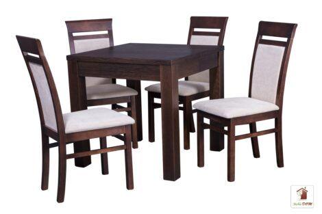 Kwadratowy stół rozkładany do salonu i jadalni Strong Square z krzesłami May