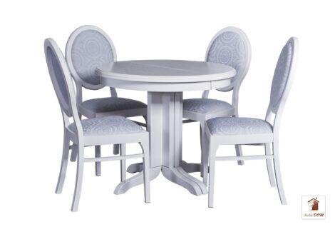 Okrągły stół rozkładany w stylu skandynawskim ROCABILLY Elegant z krzesłami Lord