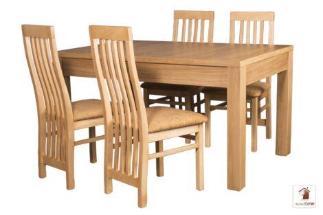Prostokątny stół rozkładany biały Strong z krzesłami Igor