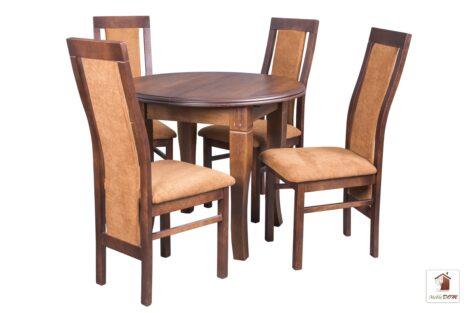 Okrągły stół rozkładany Diament Round z krzesłami Fala