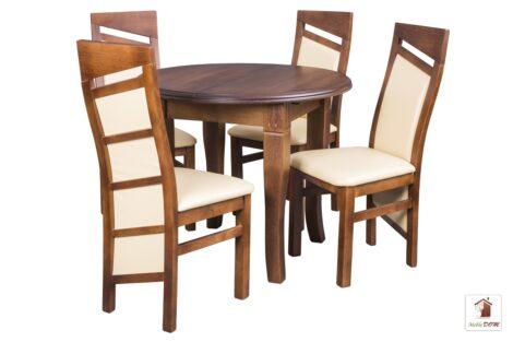 Okrągły stół rozkładany DIAMENT ROUND z krzesłami EDWARD