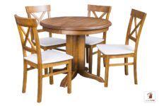 Okrągły stół rozkładany ROCKABILLY z krzesłami NORD