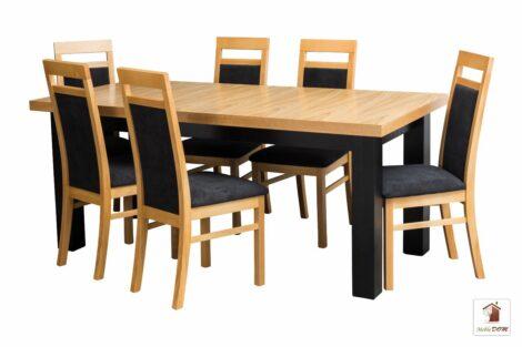 Prostokątny stół rozkładany NATUR Solid5 z krzesłami Laguna