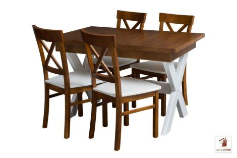 Prostokątny stół rozkładany Malmo z krzesłami Nord