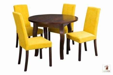 Zestaw mebli stół SWAN i krzesła CC-1. Stół okrągły rozkładany 90-120 cm i krzesła tapicerowane.